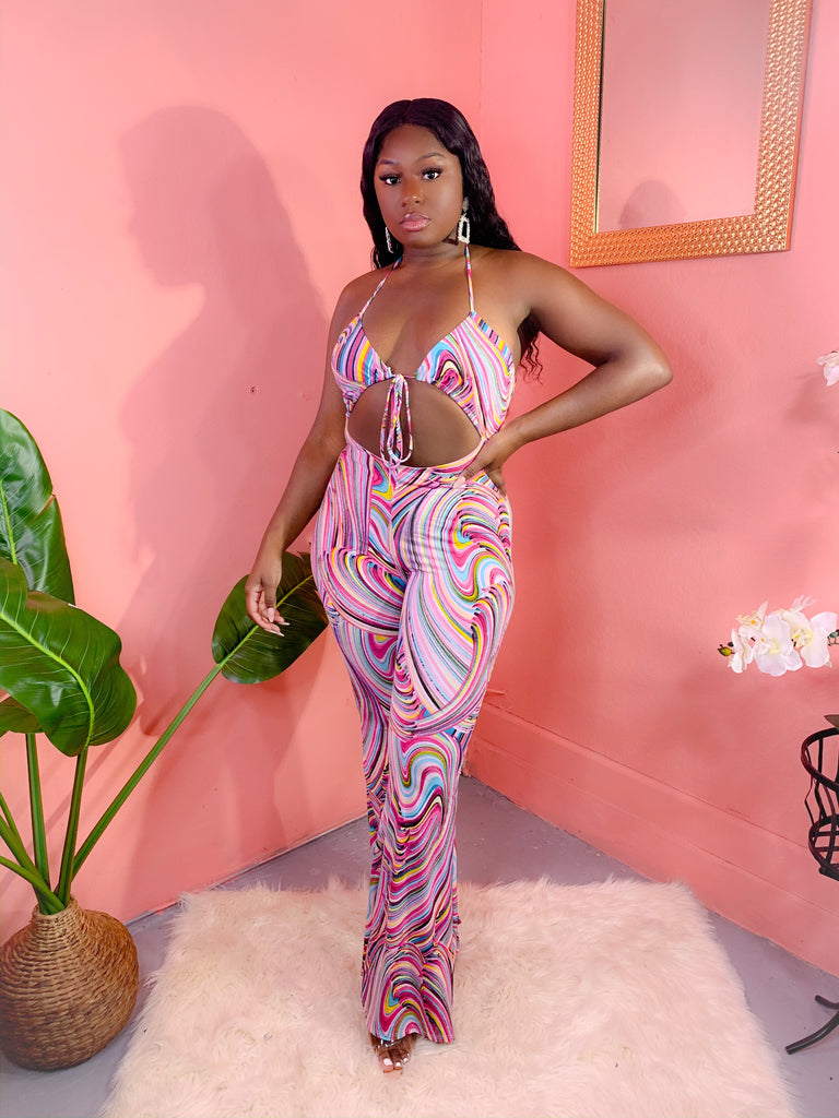 GOOD VIBES PRINT JUMPSUIT