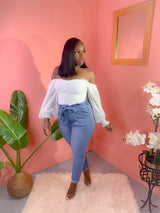 GLAM WHITE OFF SHOULDER RUCHED TOP