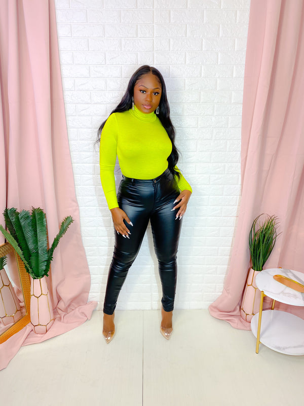 CLASSIC TURTLENECK BODYSUIT (YELLOW LIME) (FINAL SALE)