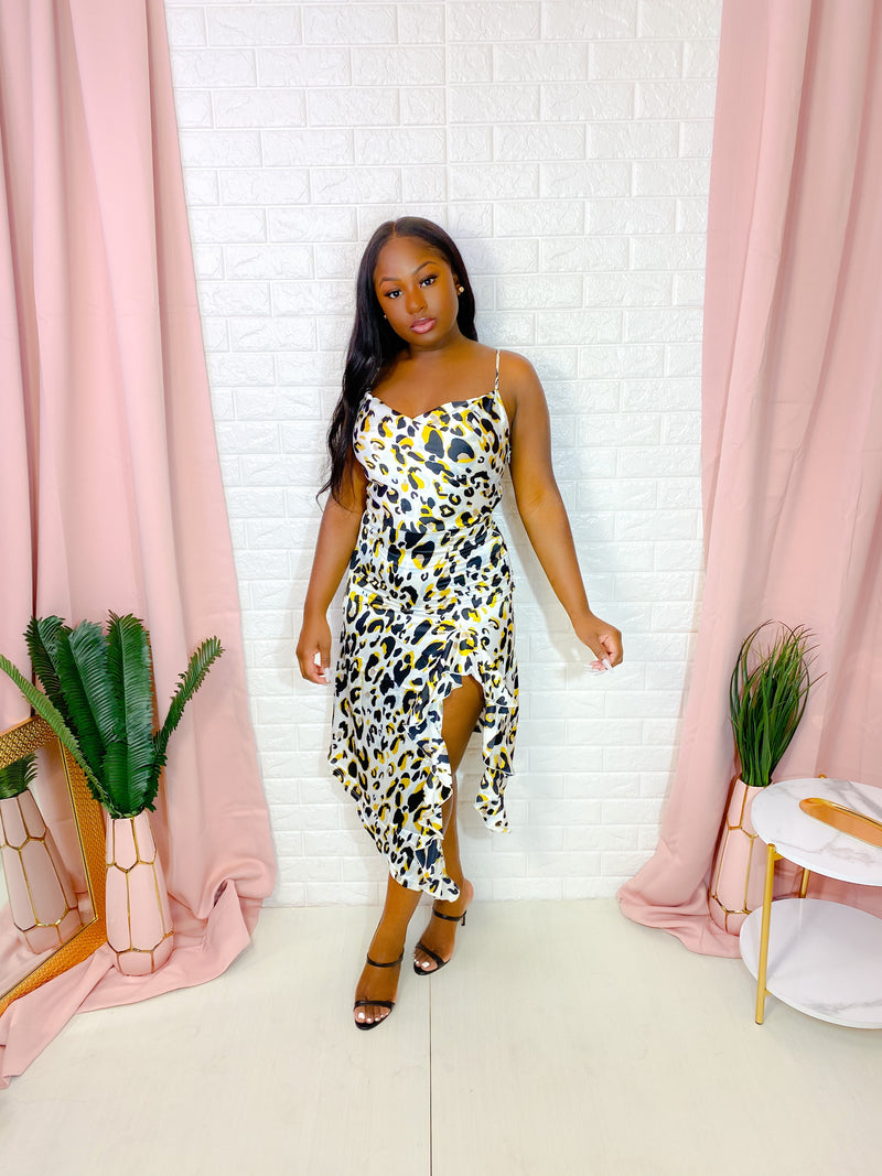 LEOPARD PRINT SATIN MIDI DRESS (CREAM)