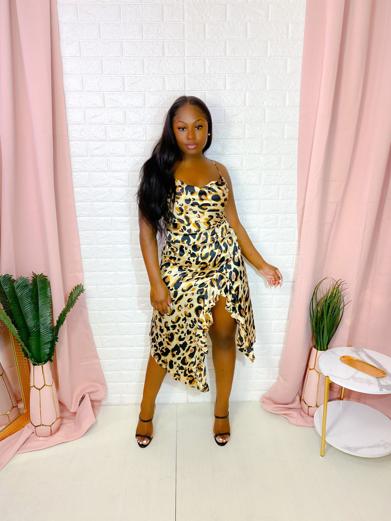 LEOPARD PRINT SATIN MIDI DRESS (BROWN)
