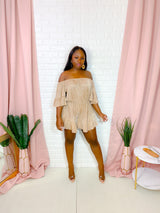 FOUND LOVE PLEATED COLD SHOULDER ROMPER