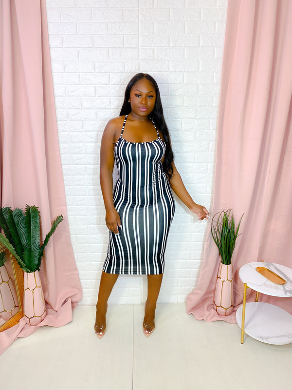 BLACK STRIPED BODYCON MIDI DRESS