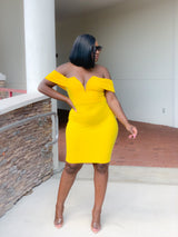 YELLOW MIDI DRESS - Moz Glam