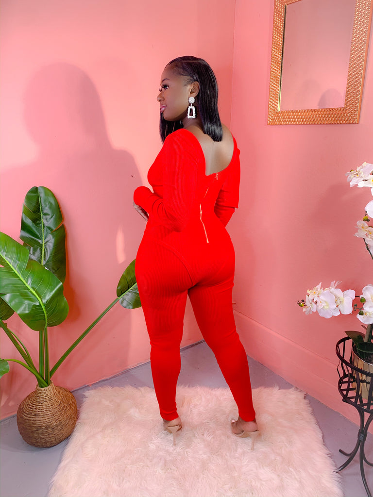 ILLUSION LONG SLEEVE KNITTED JUMPSUIT (RED)