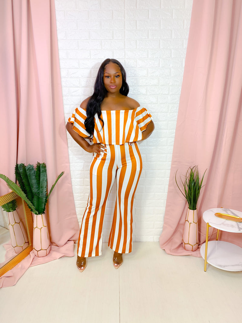 OFF SHOULDER STRIPPED JUMPSUIT (TAWNEY) (FINAL SALE)