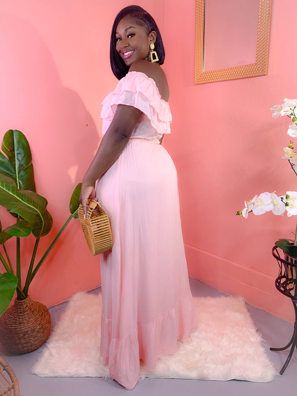 SOONER THAN LATER OFF THE SHOULDER MAXI DRESS (FINAL SALE)