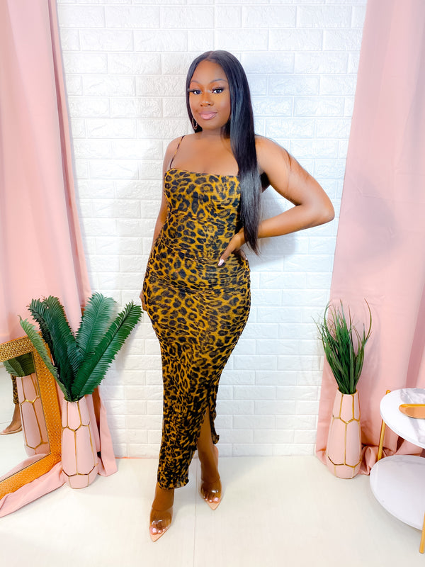 CHAMPAGNE TOAST LEOPARD RUCHED MAXI DRESS