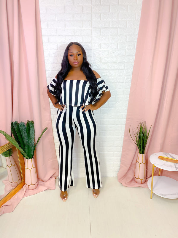 DOCK SIDE OFF SHOULDER STRIPED JUMPSUIT (BLACK)(FINAL SALE)