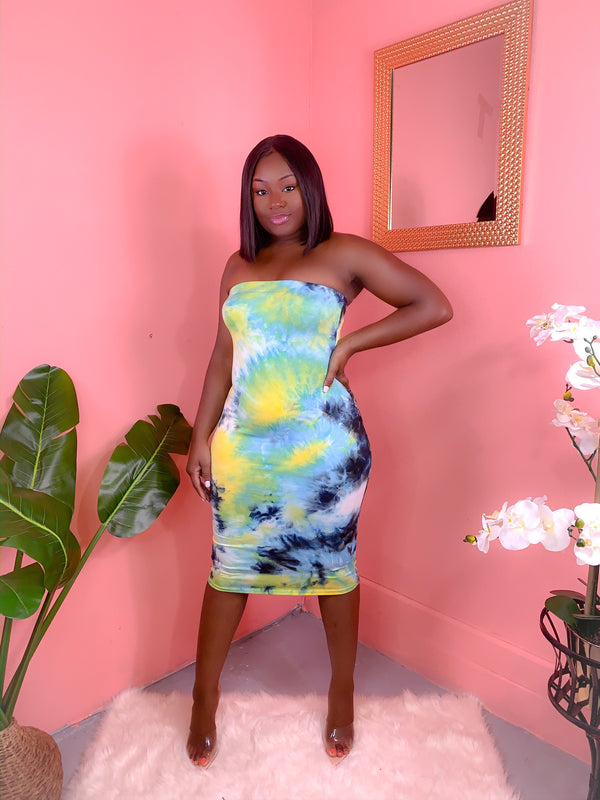 BLUE TIE DYE TUBE DRESS (FINAL SALE)