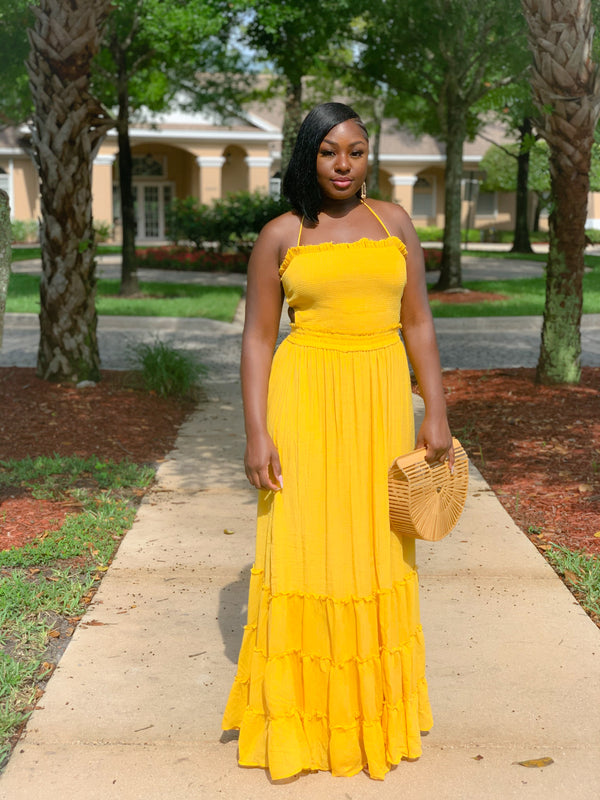 SUNSET SMOCKED MAXI DRESS (MUSTARD) (FINAL SALE)