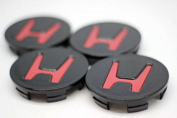 Wheel Center Caps Honda - Black with Red H - Transceed Performance