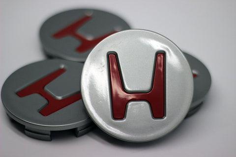 Wheel Center Caps Honda - Dark Gray with Red H - Transceed Performance