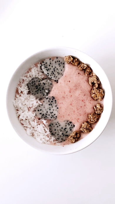 Collagen Smoothie Bowl with Heart-Shaped Dragon Fruit Slices