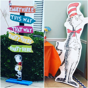 Dr. Seuss Inspired Cat in the Hat Standee 5ft, Seuss Themed party props, Dr. Suess Party, Cat in the Hat, Thing 1 & Thing 2