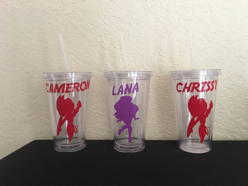DC superhero girl party favor, Personalized Plastic Tumbler Cup with Lid & Straw Gift, girl Party Favors, DC superhero party, DC superhero