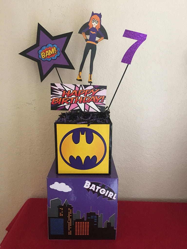 Batgirl DC SuperHero Girl Centerpiece, batgirl superhero centerpiece, batgirl DC superhero party supplies