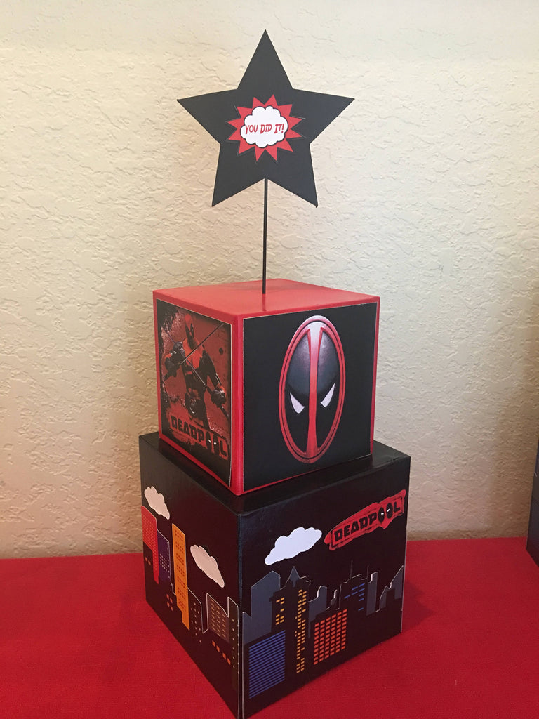 Deadpool, superhero Inspired Centerpiece Batman, Superman, wolverine superhero party supplies, superhero party decorations, superhero event