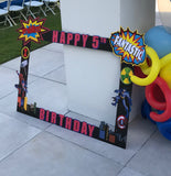 "Superhero Photo ""booth"" Frame Prop, Superhero party decorations, Superhero party supplies"