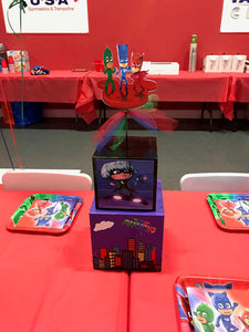 PJ Mask Inspired Centerpiece, PJ Mask Party decorations, PJ Mask Party Supplies, Owlette. Gekko, Catboy, Romero, Luna Girl, Night Ninja