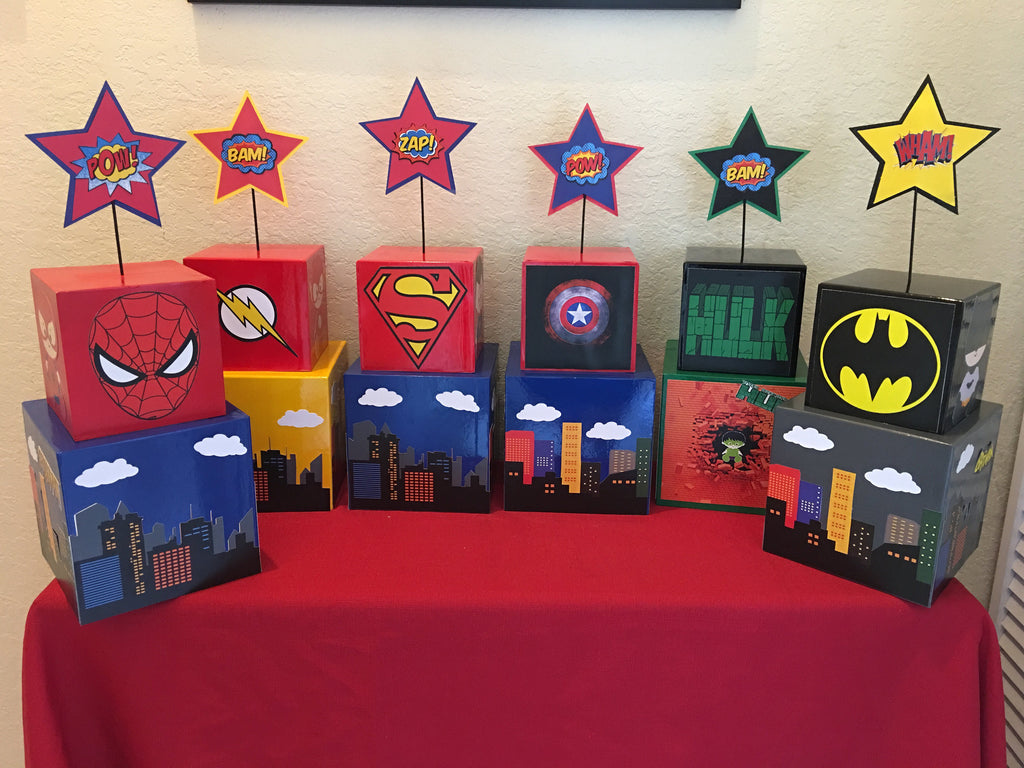 Flash superhero Centerpiece, superhero party, Batman, Superman, wolverine, deadpool, superhero party supplies, superhero party decorations