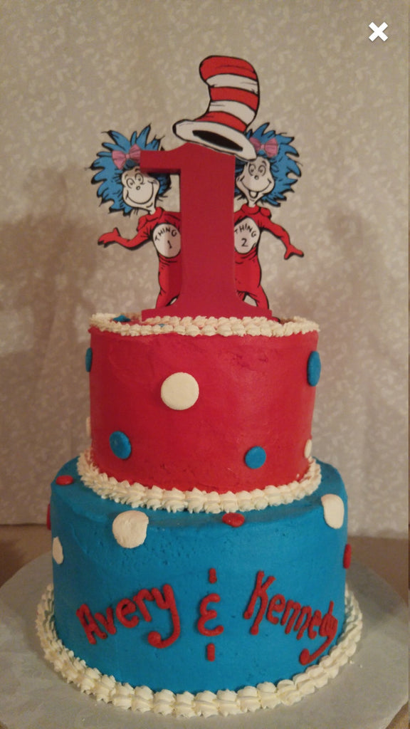 Thing 1 And 2 Dr Seuss Cake Topper With Wooden 1 Dr Seuss