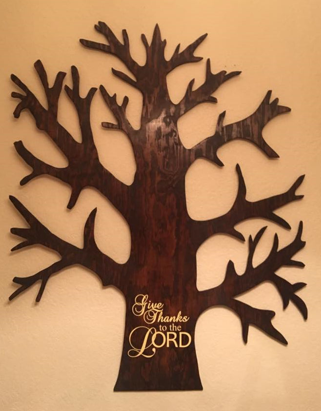 Thanksgiving Tree, Giving Thanks Tree, Hand Made Wooden Family Tree, Family Tree, Holiday Gift Ideas