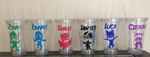PJ Mask Tumblers, PJ Mask Party, Owlette, Gekko, Catboy, Romero, Luna Girl, Night Ninja, Personalized Plastic Tumbler Cup with Lid & Straw