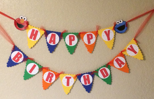 Sesame Steet Happy Birthday Banner,Sesame Street Party, Sesame Street party decortations,Seasame Street banner, Sesame Street Party Supplies