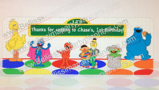 Sesame Street mini bubble labels/ thank you favor labels, Sesame Street Party supplies, Sesame Street Party
