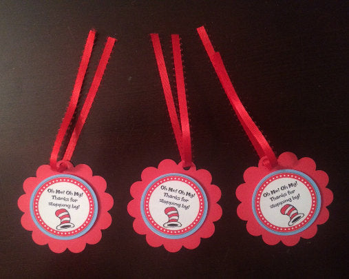 Dr Seuss favor Tags, Dr Seuss party supplies, Dr Suess Party, Thing 1&2 party supplies