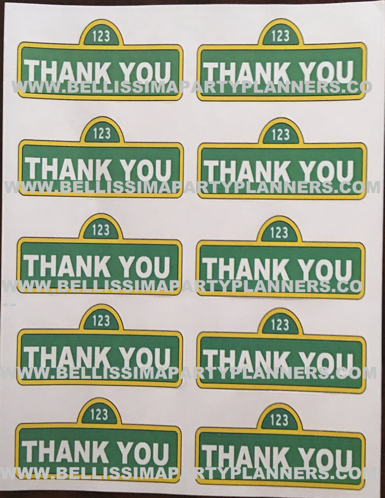 Sesame Street Thank You sign Labels, Sesame Street party supplies, Sesame Street Party, Sesame Street Party