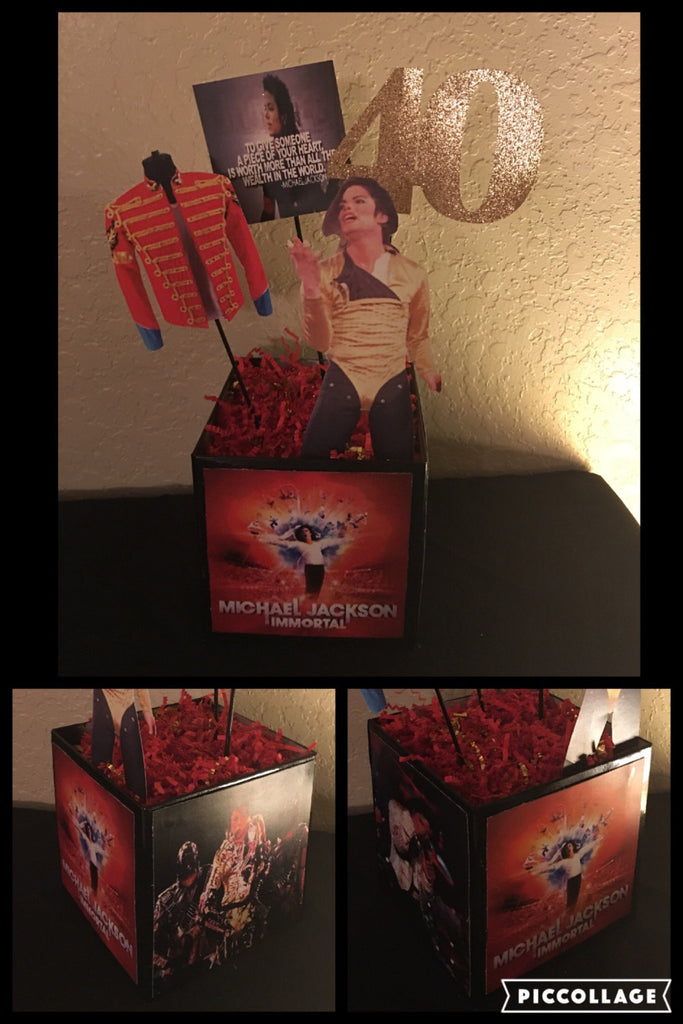 Michael Jackson, Michael Jackson Immortal Album Inspired Centerpiece, Michael Jackson Party Decor, Michael Jackson Party, MJ Party, MJ