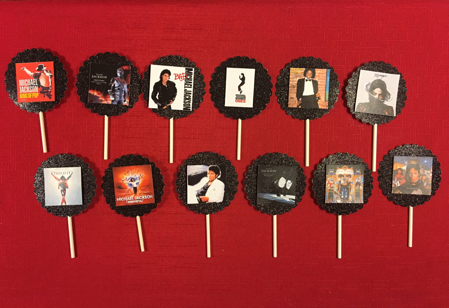 Michael Jackson Album Covers Inspired Cupcake Toppers 10 Birthday Decorations
