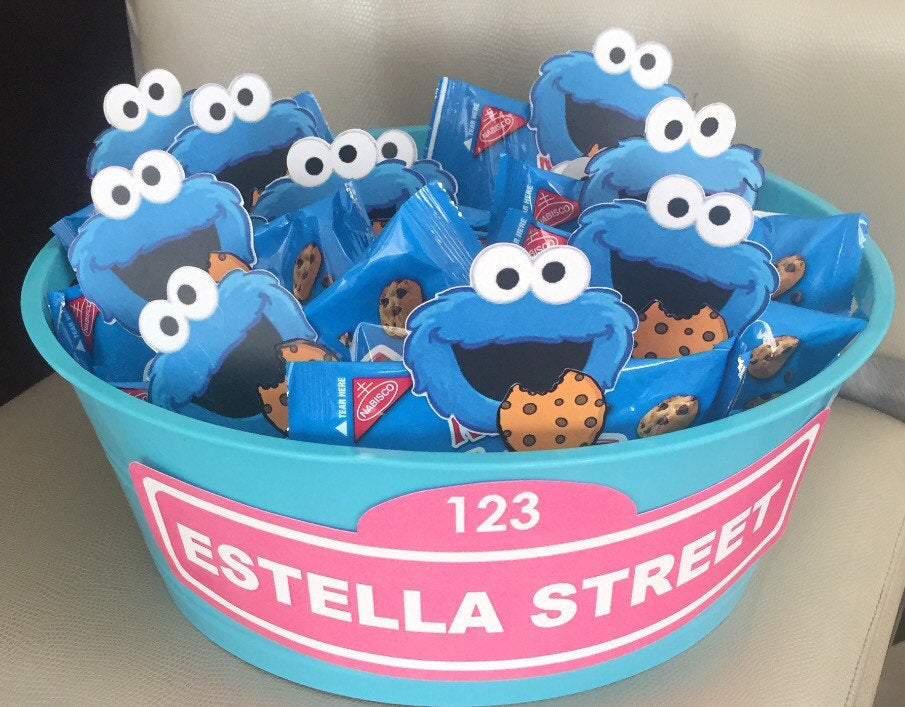 Cookie Monster Cut Outs Face With Cookie 12 Sesame Street Party Decoration Sesame Street Party Supplies Sesame Street Favors Sesame Street