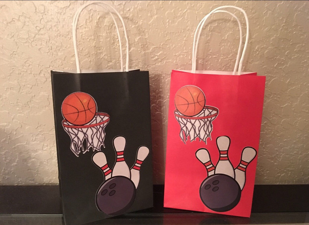 soft ball, soccer, bowling, basketball, baseball, sports party decoration, personalized supplies decor goodie bags, favor bags gift bags