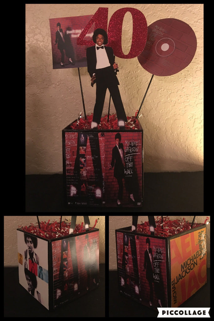 Michael Jackson, Michael Jackson OFF THE WALL Album Inspired Centerpiece, Greatest Hits Album Inspired Centerpiece, Michael Jackson Themed Party Decorations, Michael Jackson Party Decor, Michael Jackson Party, MJ Party, MJ