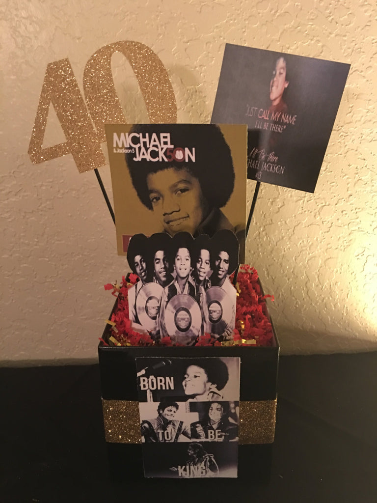 Michael Jackson, Michael Jackson- Jackson 5 Album Inspired Centerpiece, Michael Jackson Party Decor, Michael Jackson Party, MJ Party, MJ
