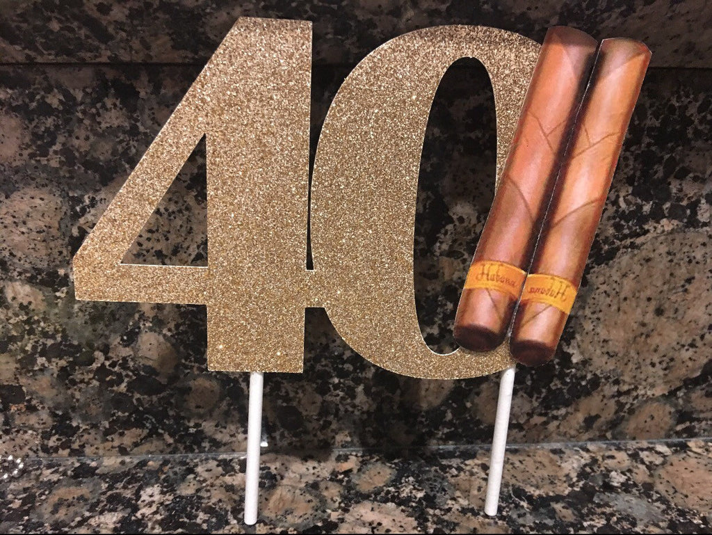Men's 40th Birthday Cake Topper, Women's 40th birthday cake topper, Glitter cake topper, 40th centerpiece, 40th birthday party decorations