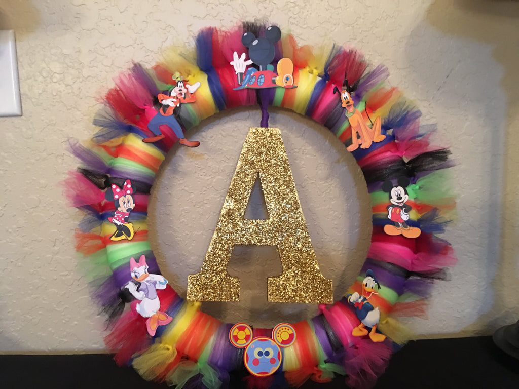 Mickey Clubhouse & Friends  Wreath Letter or Number, Mickey and Friends favors, Mickey and friends Party decorations, Mickey Mouse, Tutu Wreath