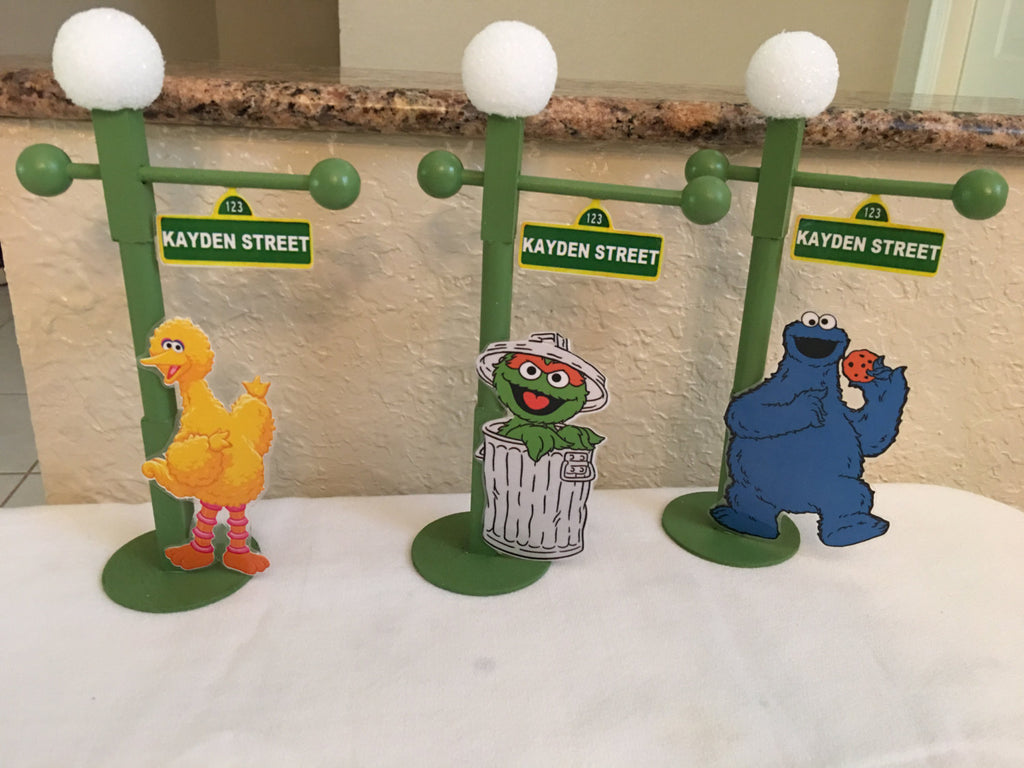 Sesame Street lamp post, sesame street favor, sesame street cake topper, sesame street party favor, Sesame Street party decoration, SS Party