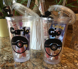 Pokemon inspired Personalized Plastic Tumbler, pokemon party favor