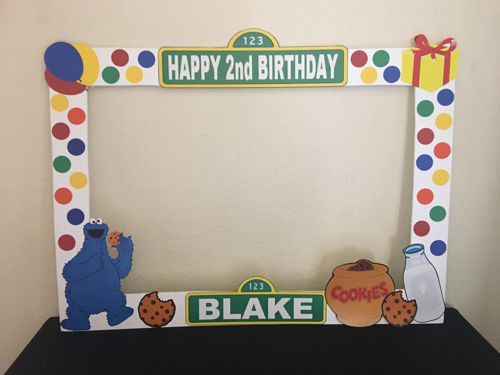 Sesame Street Photo Booth Prop Frame - wooden, Sesame Street party ...