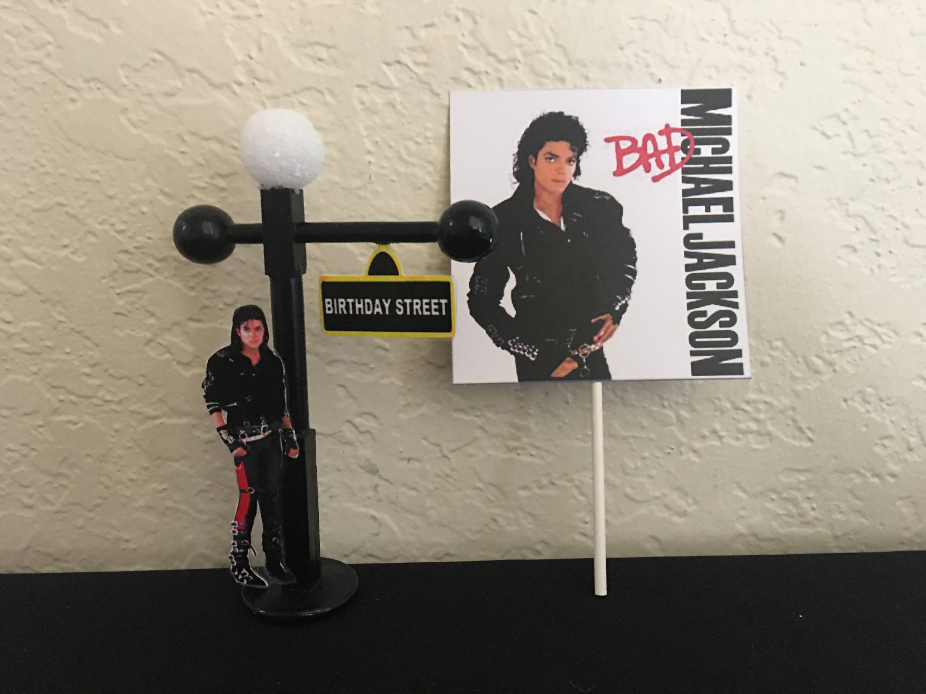 Michael Jackson MJ Inspired Cake Or Cupcake Topper Party King Of Pop