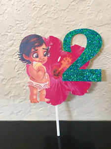 Moana inspired Birthday Cake Topper, Moana birthday cake topper, Glitter number cake topper, Moana party decorations,