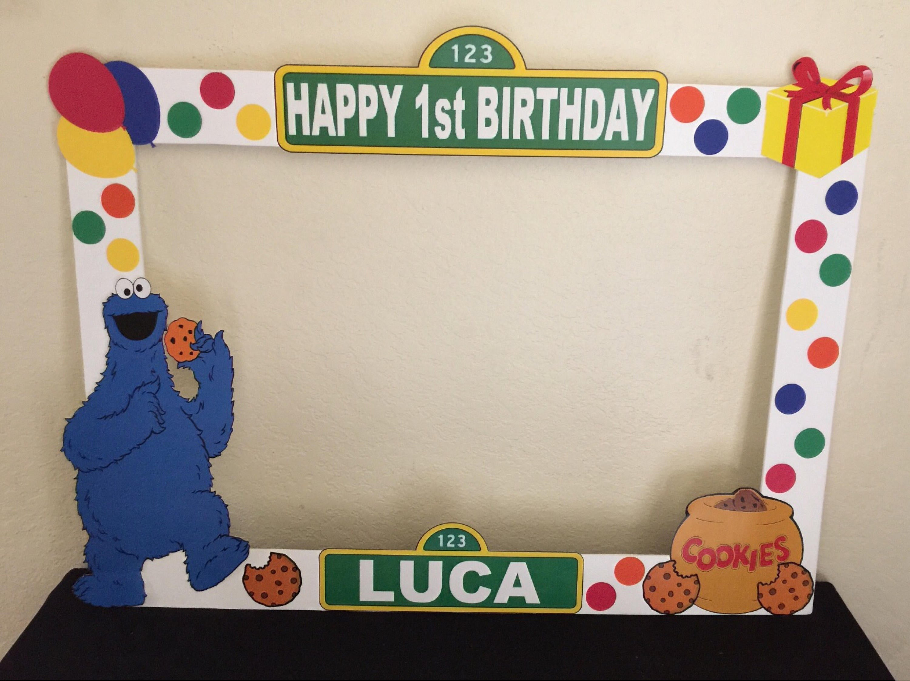 Sesame Street Photo Booth Prop Frame Wooden Sesame Street Party