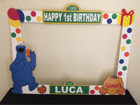 Sesame Street Photo Booth Prop Frame - wooden, Sesame Street party decorations, Sesame Street party supplies, Sesame Street picture frame, Cookie Monster Party