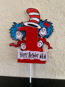 Thing 1 and 2, Dr Seuss Cake topper with wooden #1, Dr Seuss decorations, Dr Seuss Party supplies, Seuss cake topper, thing 1 thing 2 decor