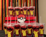 Pokemon inspired Personalized Plastic Tumbler Cup w/ Lid & Straw, Pokemon Party Favors, Pokemon Go