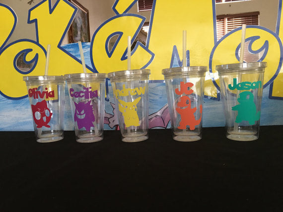 Pokemon inspired Personalized Plastic Tumbler Party Favors, Pokemon Party Favors